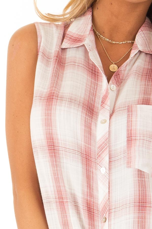 Dusty Rose Plaid Sleeveless Button Up Collared Top detail