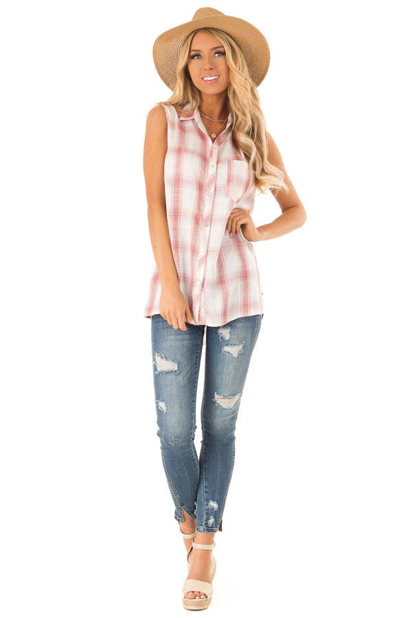 Dusty Rose Plaid Sleeveless Button Up Collared Top front full body