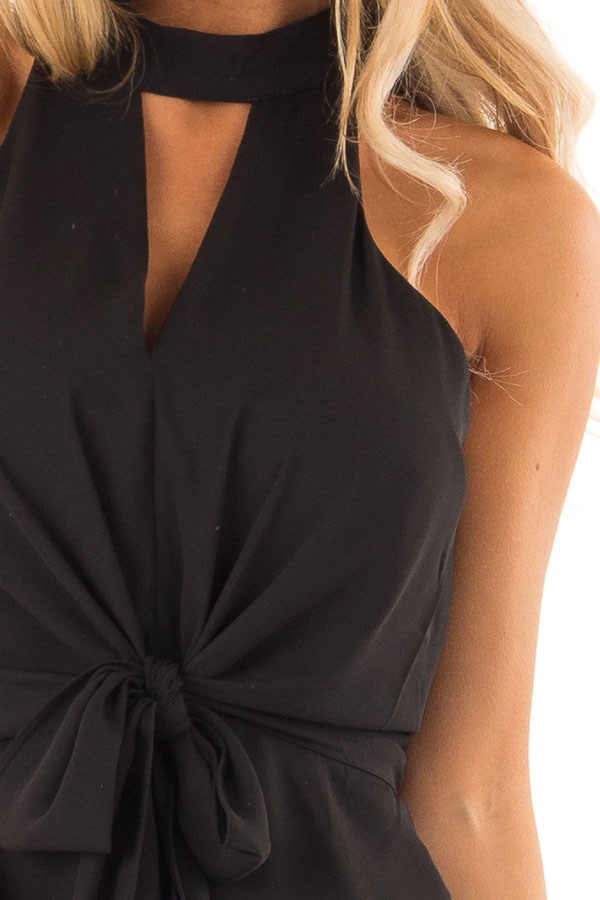 Black Halter Top with Tie Detail and Front and Back Cutouts detail