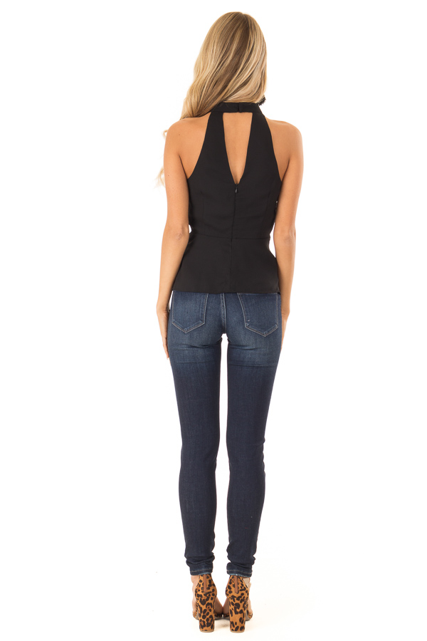 Black Halter Top with Tie Detail and Front and Back Cutouts back full body