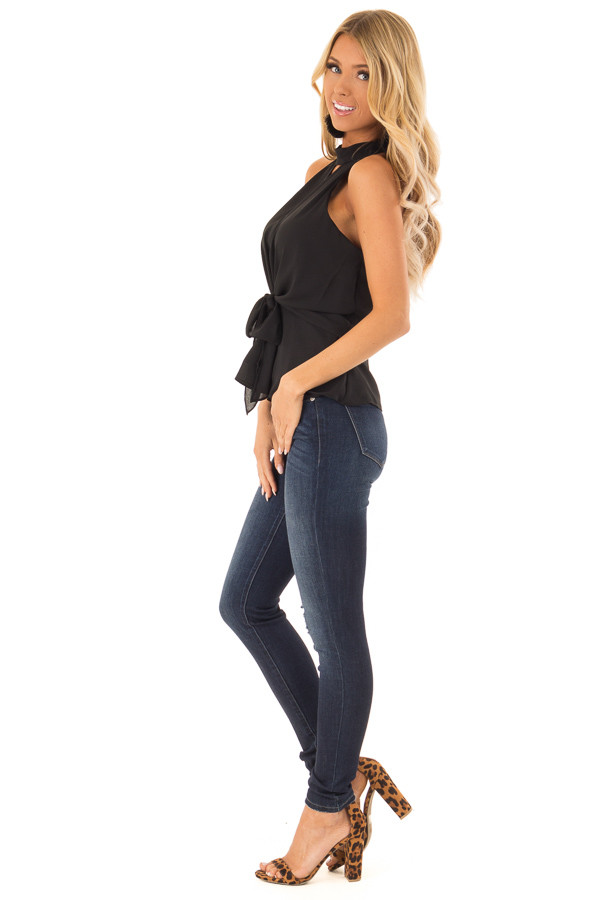 Black Halter Top with Tie Detail and Front and Back Cutouts side full body