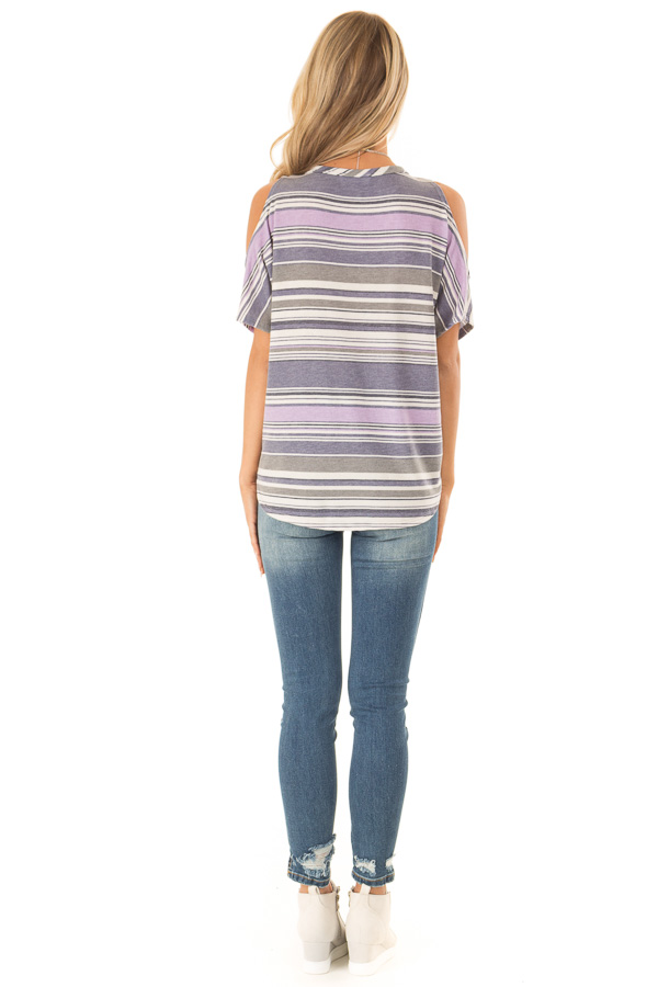 Lilac and Lavender Striped Cold Shoulder Button Up Top back full body