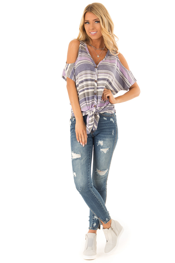 Lilac and Lavender Striped Cold Shoulder Button Up Top front full body