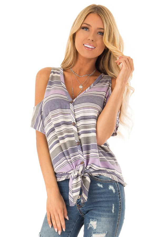 Lilac and Lavender Striped Cold Shoulder Button Up Top front close up