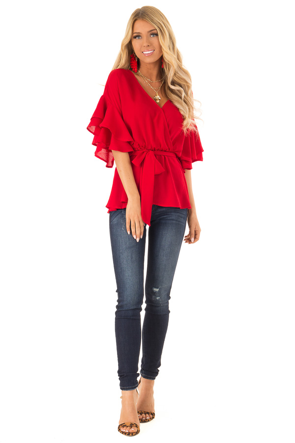 Candy Apple Red Ruffle Half Sleeve Top with Waist Tie front full body