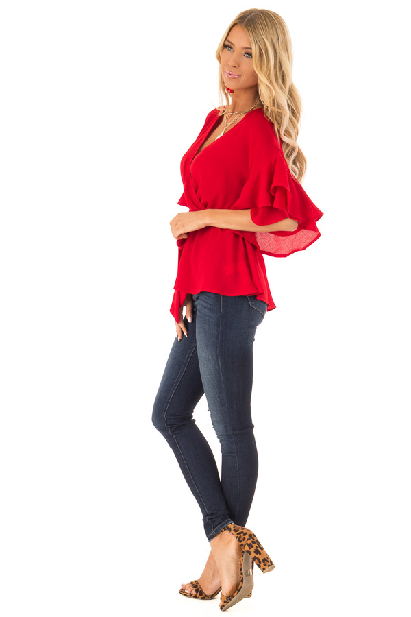Candy Apple Red Ruffle Half Sleeve Top with Waist Tie side full body