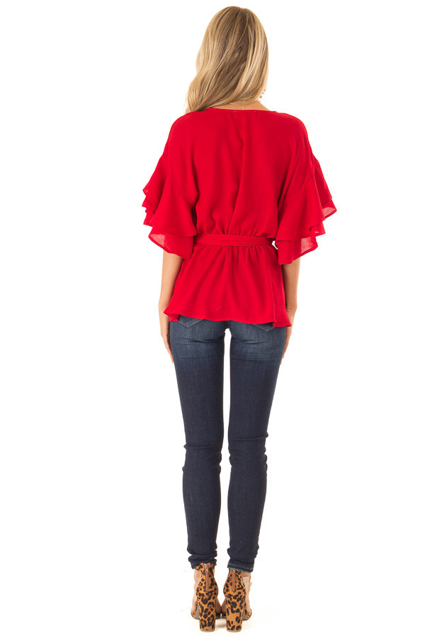 Candy Apple Red Ruffle Half Sleeve Top with Waist Tie back full body
