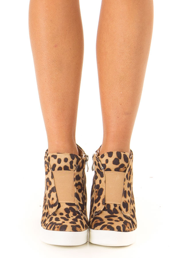 Caramel Leopard Print Wedge Sneaker with Zipper front view