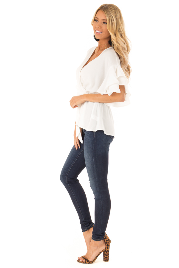 Coconut White Ruffle Half Sleeve Top with Waist Tie side full body