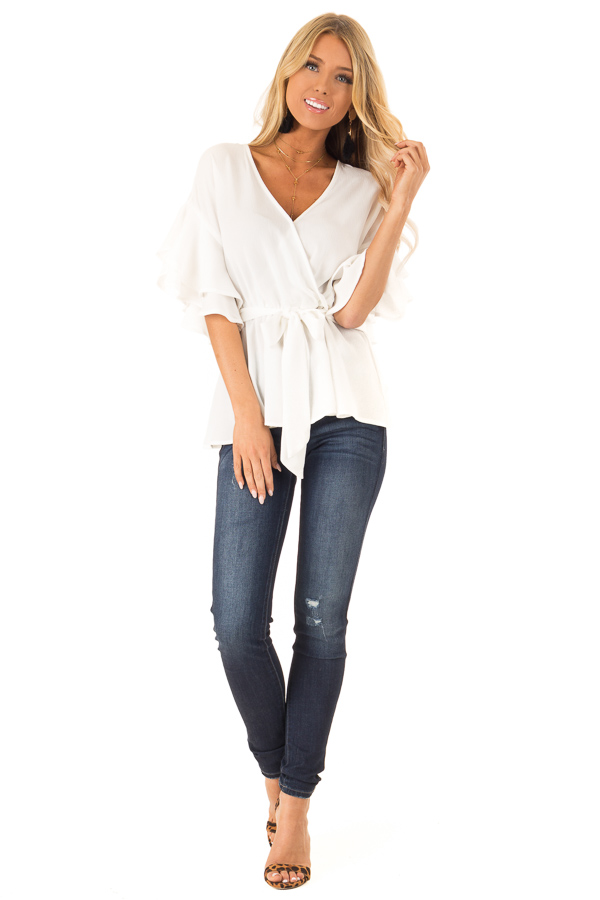 Coconut White Ruffle Half Sleeve Top with Waist Tie front full body