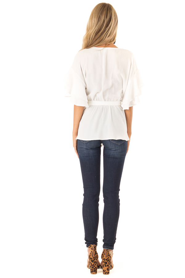 Coconut White Ruffle Half Sleeve Top with Waist Tie back full body