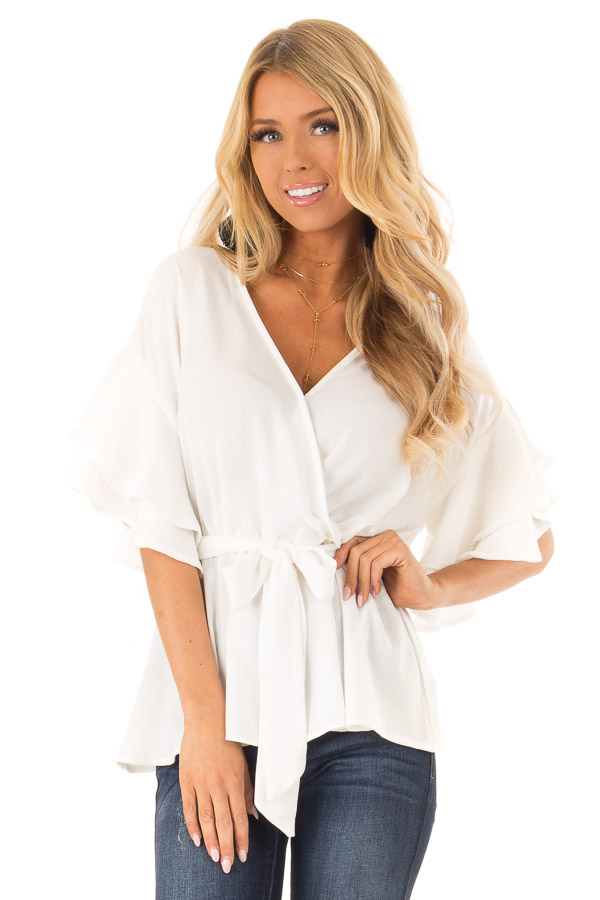 Coconut White Ruffle Half Sleeve Top with Waist Tie front close up