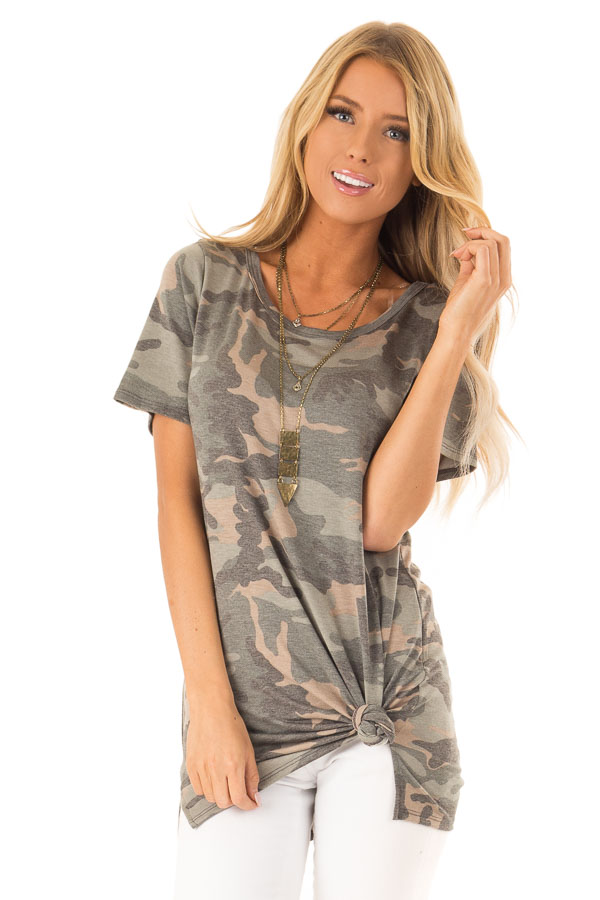 Camo Short Sleeve Top with Hot Pink Back Criss Cross Detail front close up