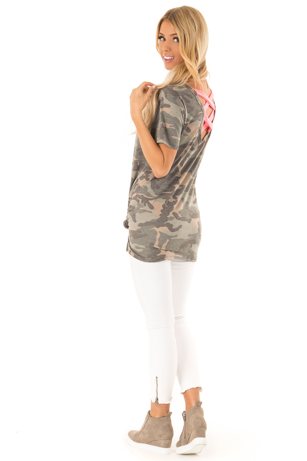 Camo Short Sleeve Top with Hot Pink Back Criss Cross Detail side full body