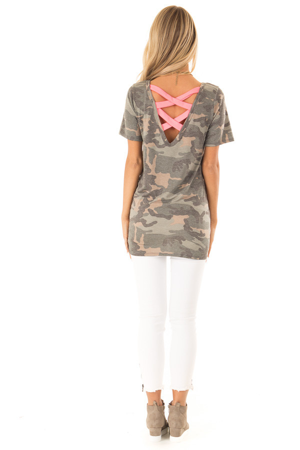 Camo Short Sleeve Top with Hot Pink Back Criss Cross Detail back full body