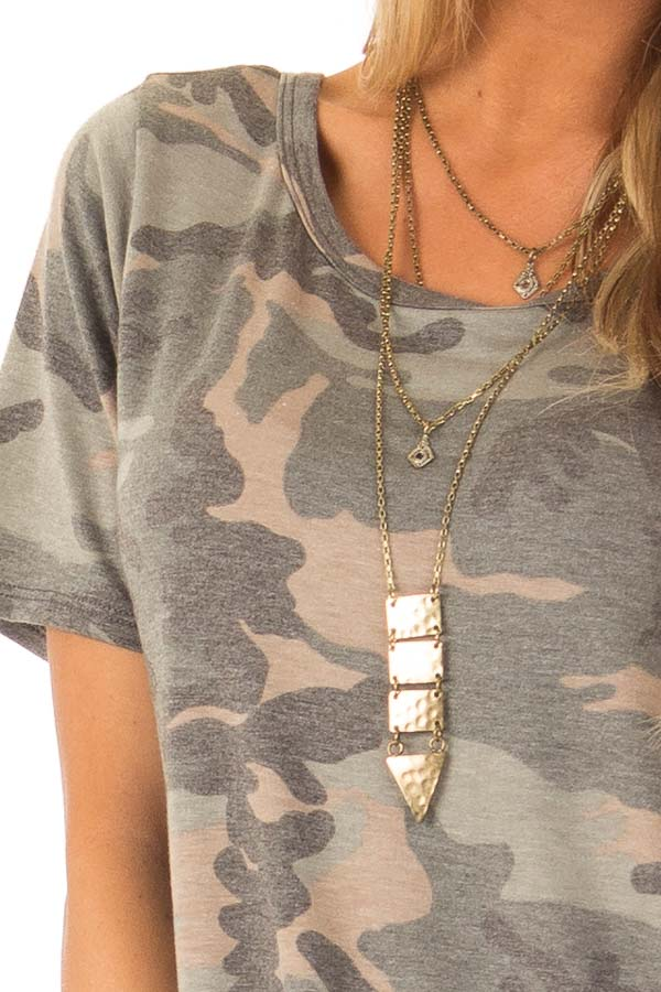 Camo Short Sleeve Top with Hot Pink Back Criss Cross Detail
