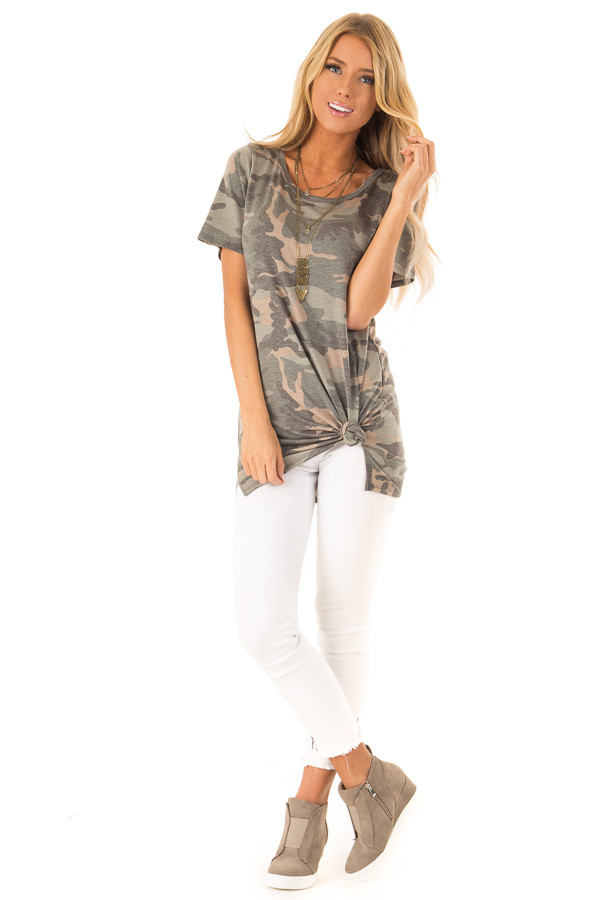 Camo Short Sleeve Top with Hot Pink Back Criss Cross Detail front full body