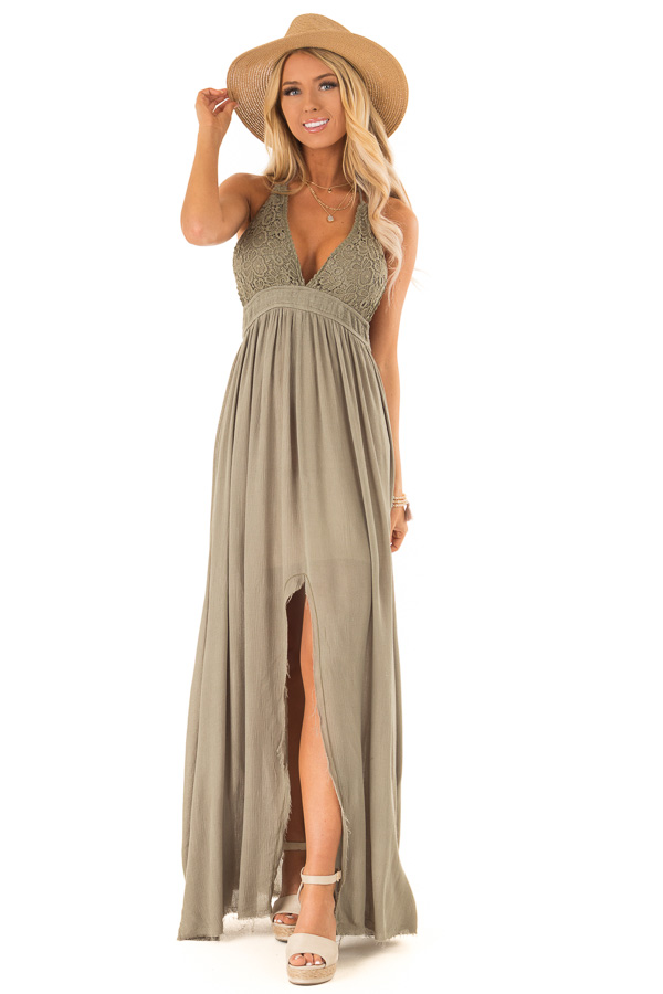 b186ba69e58 ... Olive Backless Halter Top Maxi Dress with Lace Details front full body  ...