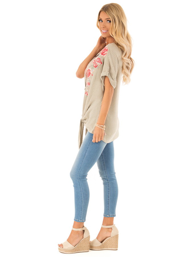 Dusty Sage Waffle Knit Button Up Top with Floral Embroidery side full body