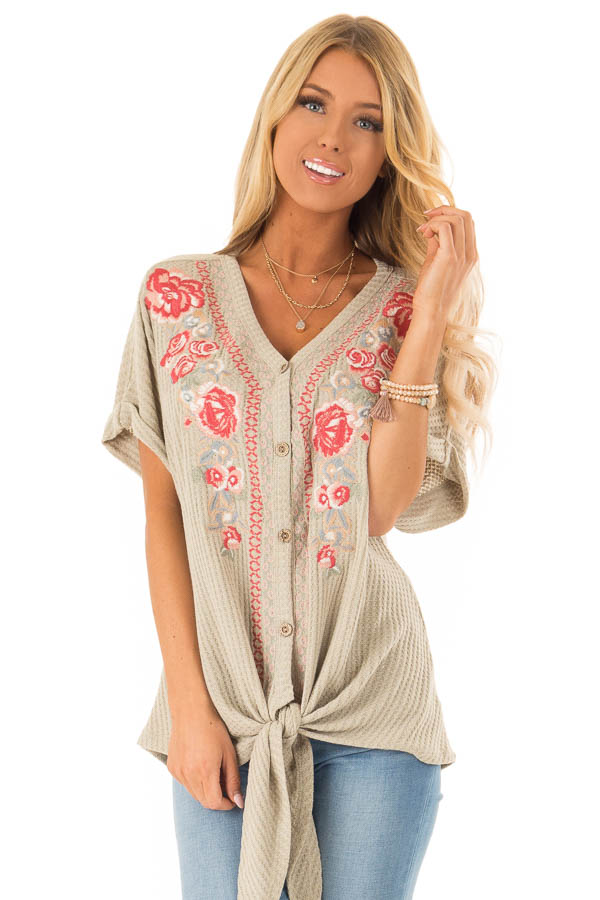 Dusty Sage Waffle Knit Button Up Top with Floral Embroidery front full body