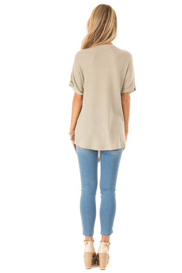 Dusty Sage Waffle Knit Button Up Top with Floral Embroidery back full body