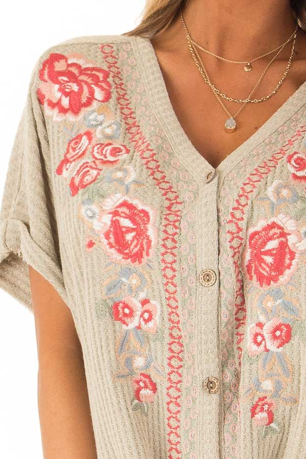 Dusty Sage Waffle Knit Button Up Top with Floral Embroidery detail