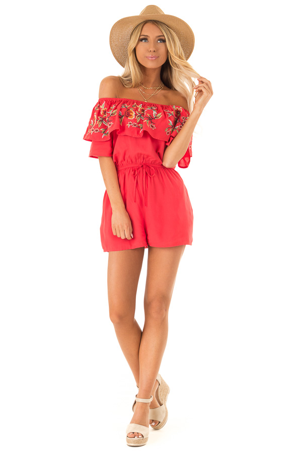 Tomato Red Off the Shoulder Romper with Embroidered Detail front full body