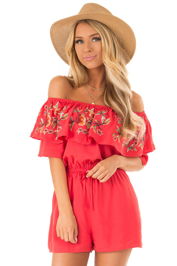 Tomato Red Off the Shoulder Romper with Embroidered Detail front close up
