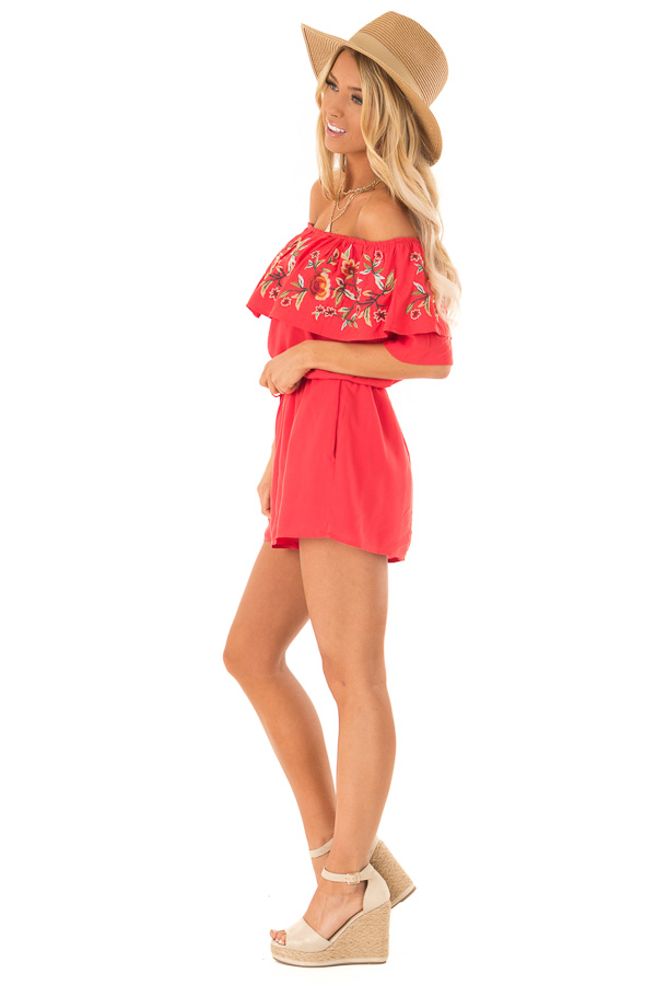 Tomato Red Off the Shoulder Romper with Embroidered Detail side full body