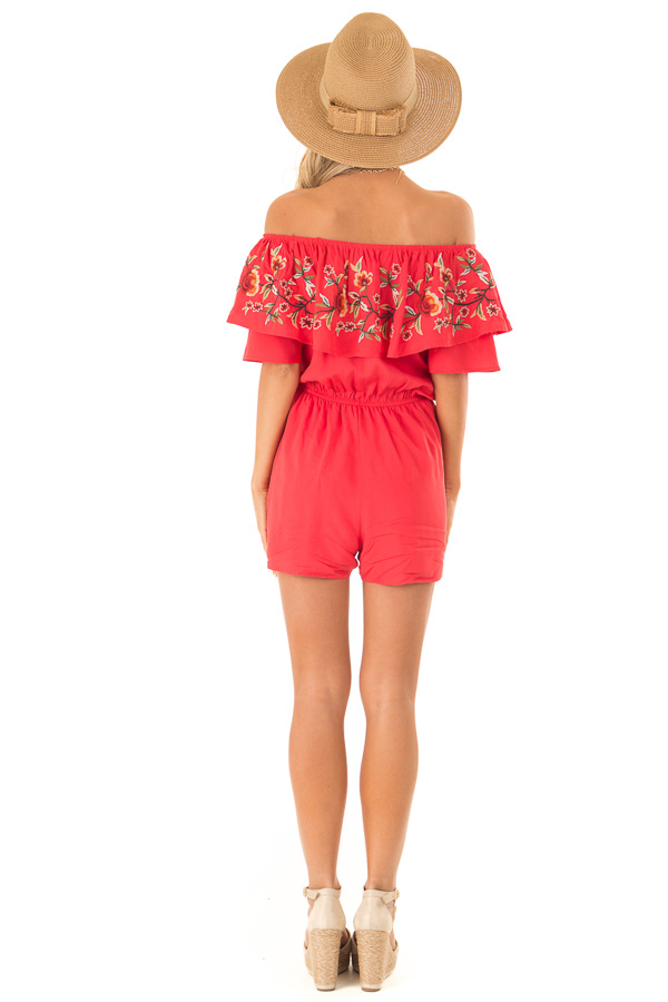 Tomato Red Off the Shoulder Romper with Embroidered Detail back full body