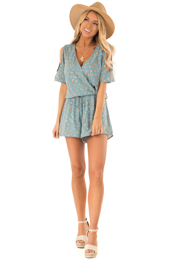 Teal Floral Surplice Cold Shoulder Romper with Front Tie front full body
