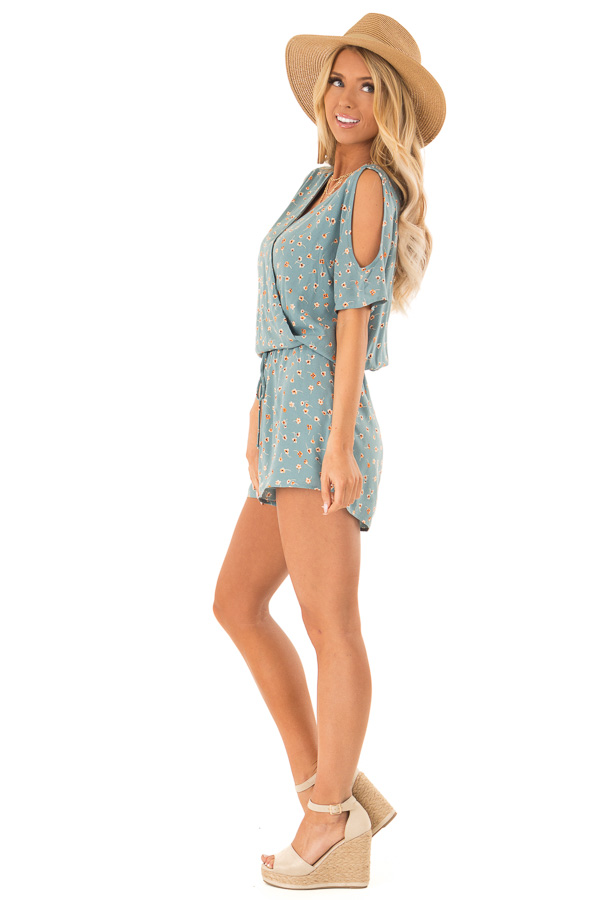 Teal Floral Surplice Cold Shoulder Romper with Front Tie side full body