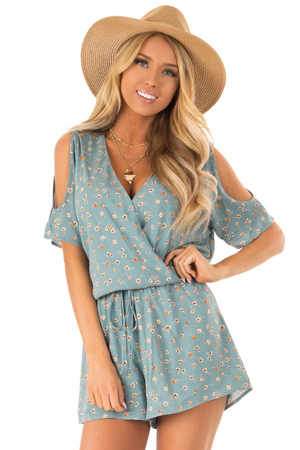 Teal Floral Surplice Cold Shoulder Romper with Front Tie front close up