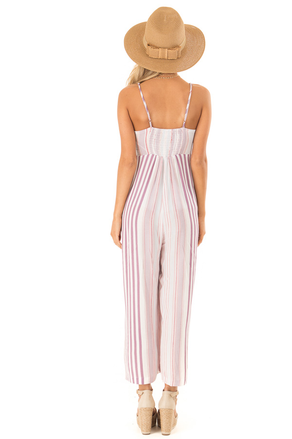 Lilac Multicolor Striped Cami Jumpsuit with Front Tie back full body