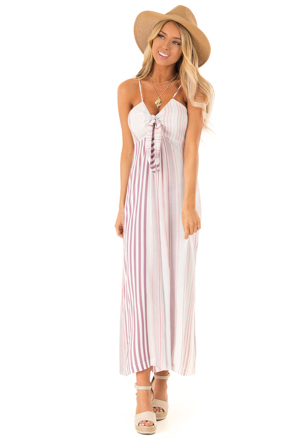 Lilac Multicolor Striped Cami Jumpsuit with Front Tie front full body