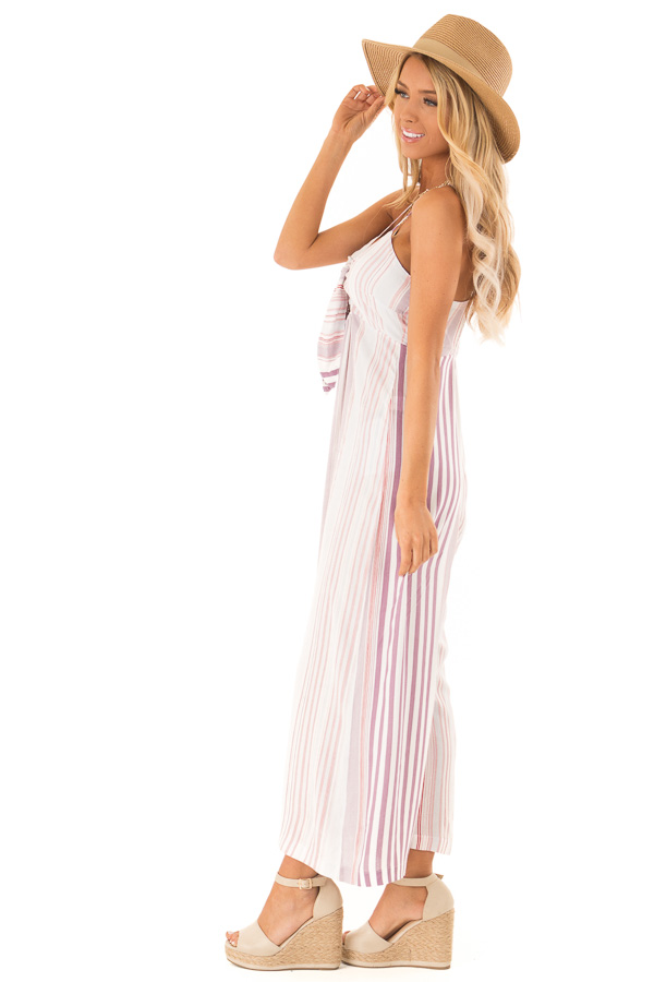 Lilac Multicolor Striped Cami Jumpsuit with Front Tie side full body