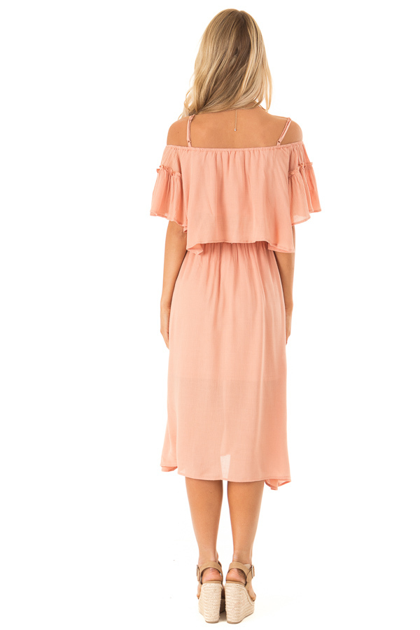 Peach Off Shoulder Crop Top with Midi Skirt Two Piece Set back full body