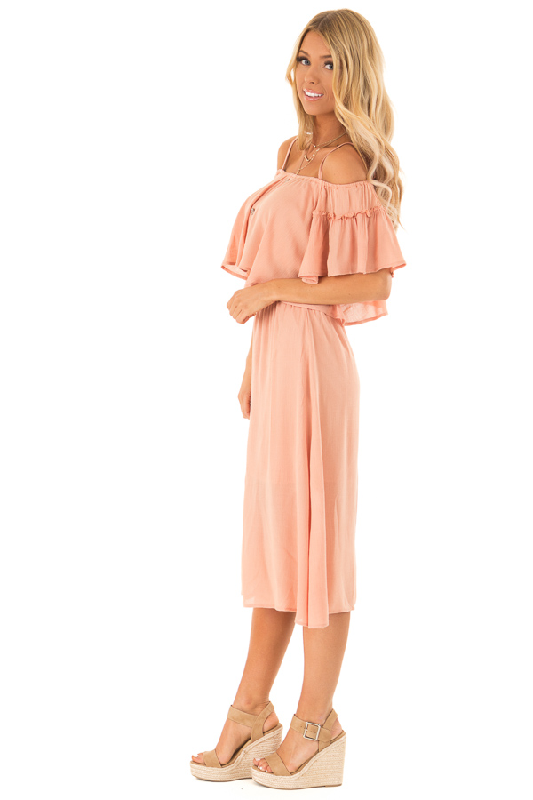 Peach Off Shoulder Crop Top with Midi Skirt Two Piece Set side full body
