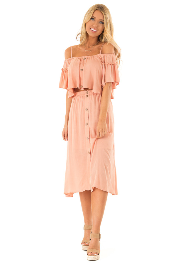Peach Off Shoulder Crop Top with Midi Skirt Two Piece Set front full body
