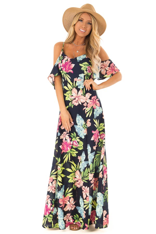 ed7abaa41628e Navy Floral Print Off the Shoulder Maxi Dress - Lime Lush Boutique