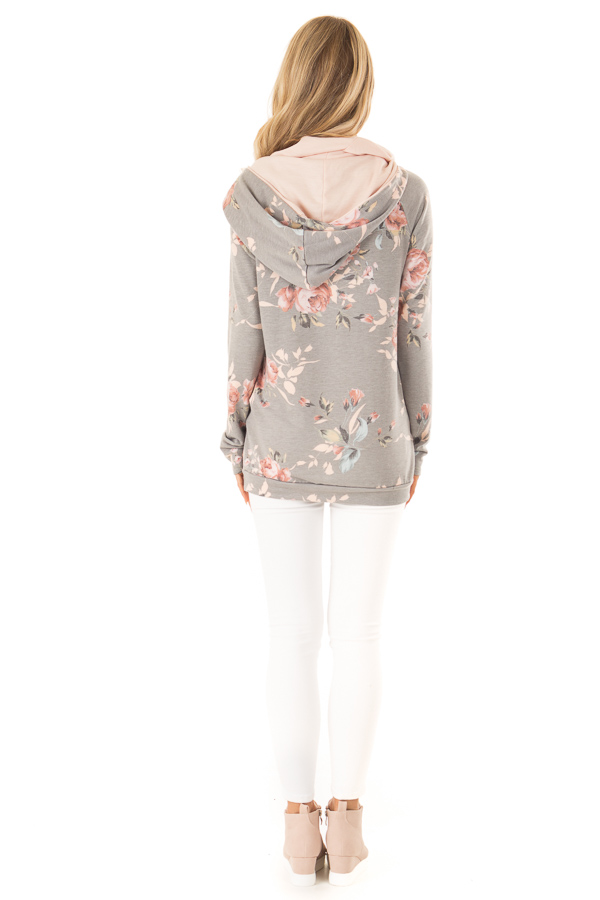 Charcoal Floral Hoodie with Peach Hood Detail and Ties back full body