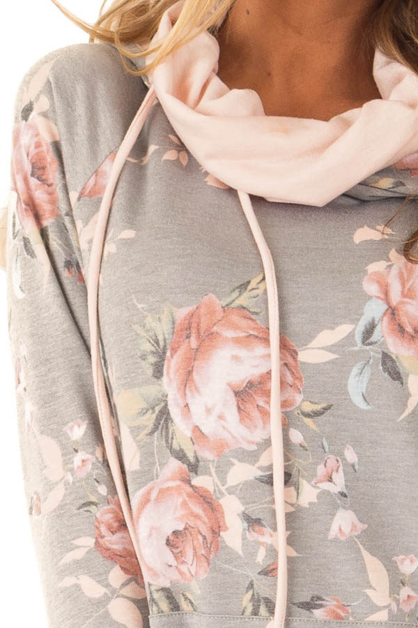 Charcoal Floral Hoodie with Peach Hood Detail and Ties detail