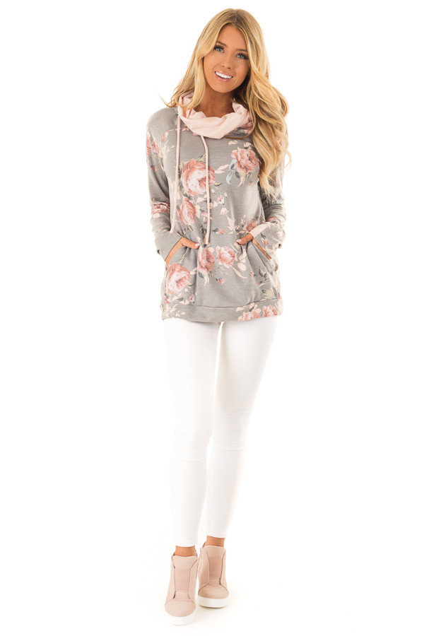 Charcoal Floral Hoodie with Peach Hood Detail and Ties front full body