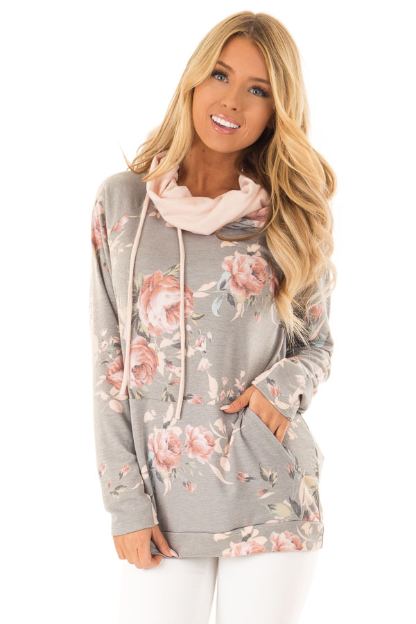 Charcoal Floral Hoodie with Peach Hood Detail and Ties front close up