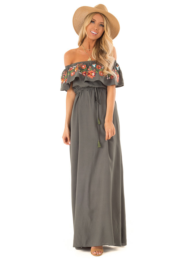 946dc454d8d ... Forest Green Maxi Dress with Embroidered Floral Overlay front full body  ...