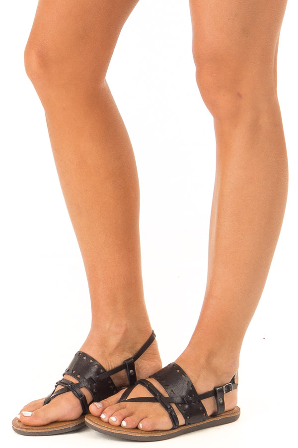 Obsidian Black Strappy Sandal with Triangle Cutouts side view