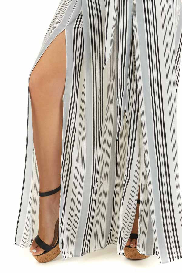 Ivory Striped Halter Top and Wide Leg Pants Two Piece Set detail
