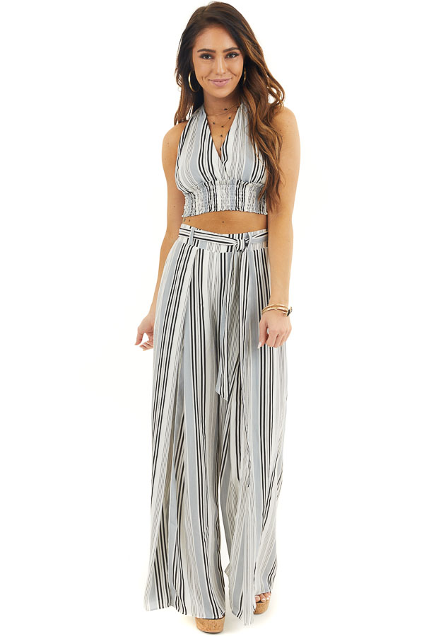 Ivory Striped Halter Top and Wide Leg Pants Two Piece Set front full body