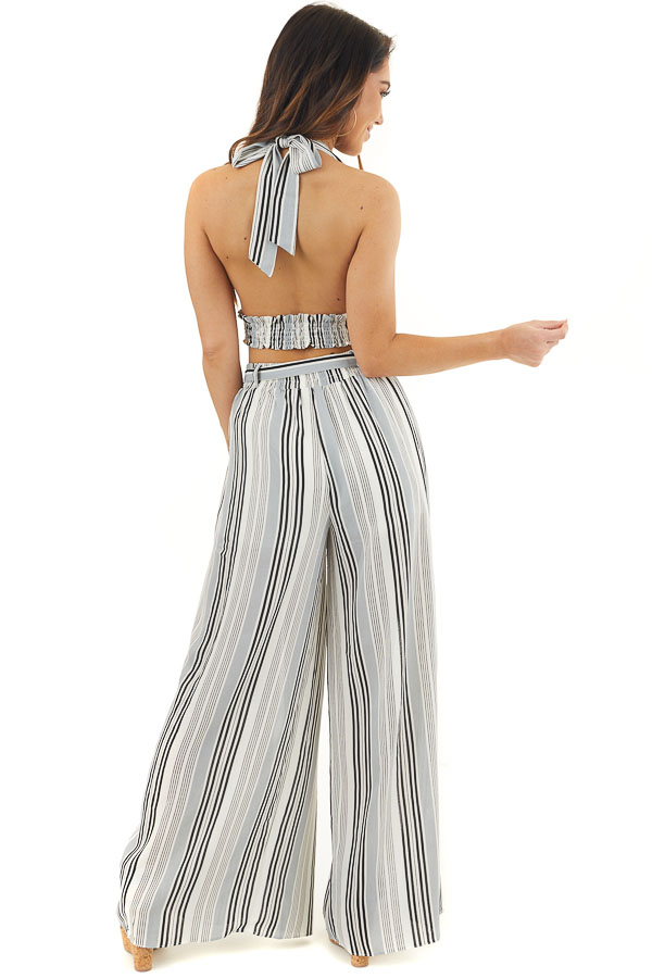 Ivory Striped Halter Top and Wide Leg Pants Two Piece Set back full body
