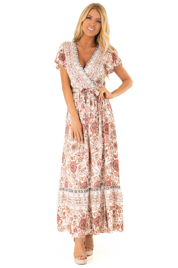 2eff1d511de Ivory and Mauve Floral Print V Neck Maxi Wrap Dress with Tie front full body